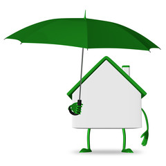 White cottage with green umbrella