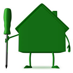 Green cottage with screwdriver