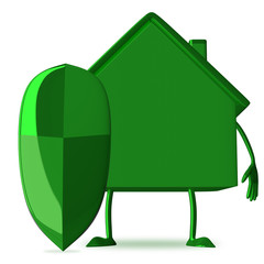 Green cottage with shield