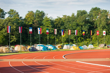 Collection of flags on the stadium, competition