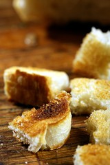 homemade fried croutons of bread