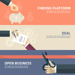 Flat design concept for finding, deal, startup