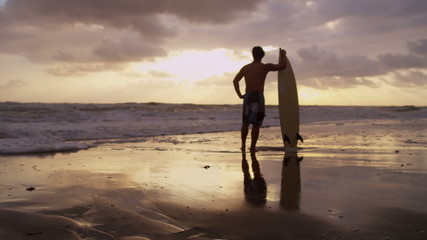 Healthy Young Male Sand Beach Holding Surfboard