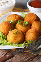 potato croquettes on a white plate close-up. vertical