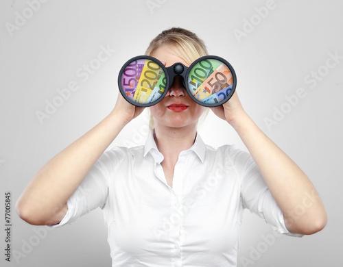 canvas print picture Frau mit Fernglas und Geld