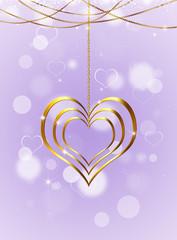 Golden Heart On Bright Background