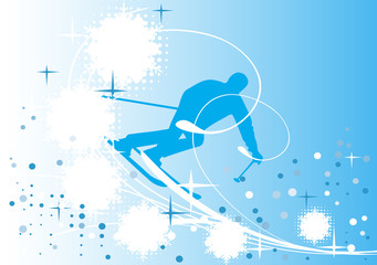 Blue  ski banner
