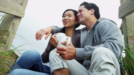 Close Up Young Ethnic Couple Love Together Outdoors Fall Beach