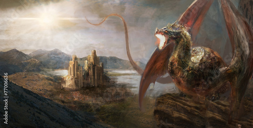 Leinwandbild Motiv Dragon castle