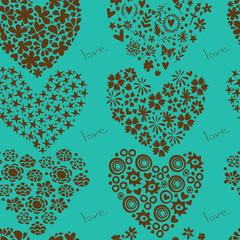 Holiday pattern hearts set