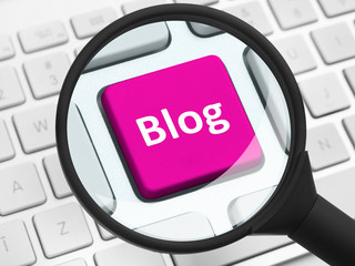 Blog button under the magnifying glass