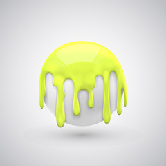 ball with paint drops Yellow.
