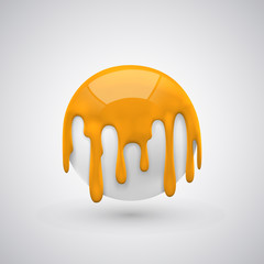 ball with paint drops orange.