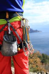 Climbing equipment.