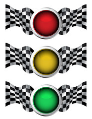 Illustration set Of Traffic Lights With Checkered Racing Flags
