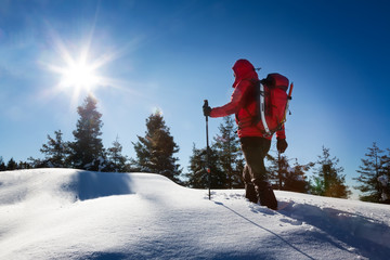 A trekker, walking in the snow, takes a rest for admire the pano