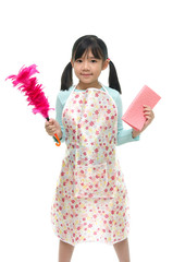 Beautiful asian girl wearing apron and holding Feather duste