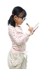 Cute asian girl thinking on white background isolated