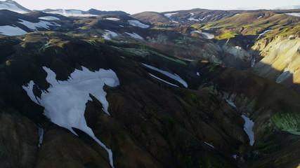 Aerial Landmannalaugar snow volcanic wilderness trekking  Iceland