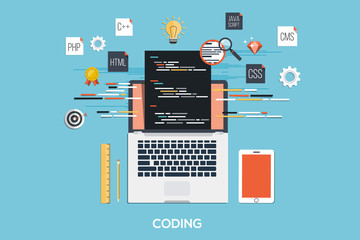 Programming - Coding Flat Concept