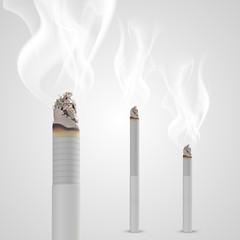 Smoldering cigarette with a smoke. Vector