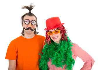 Man and Woman dressed in funny carnival costumes