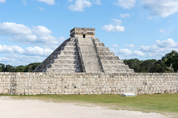 A view of part of the complex Chichen Itza, Mexico.