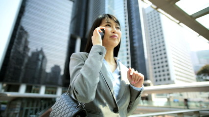 Smart Female American Asian Chinese Corporate Manager Smart Phone WiFi