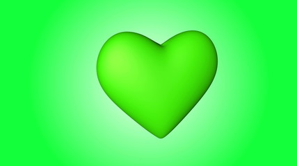 Animation of a green heart beating