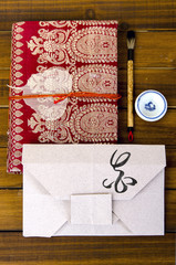 envelope origami flower with hieroglyph
