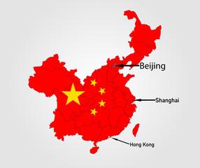 Landkarte von China in Landesfarbe
