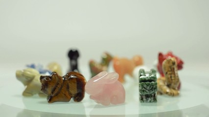 Rotating 12 Chinese zodiac stone animals