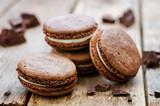 chocolate macaron with cream cheese