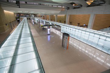 Empty train terminal at Dulles International Airport.