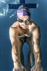 Muscular professional swimmer