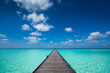 Wooden pier with blue sea and sky background - 77014253