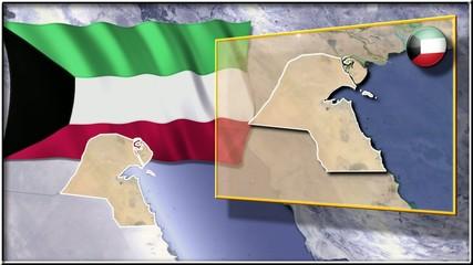Kuwait flag and map animation