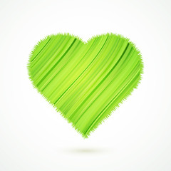 Green heart with abstract herbs texture