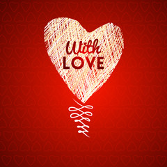 Love hearts sketch hand drawn card