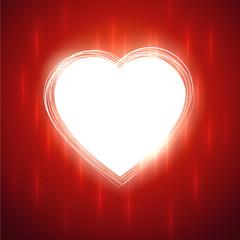 White glowing heart shape on red stylish background.
