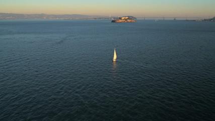 Aerial view The Rock Alcatraz Island, San Francisco Bay, USA