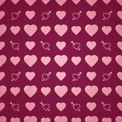Lovely heart romantic pattern. Seamless vector background.