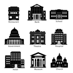 Building icons set of government, museum, theater, hospital