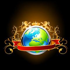 Globe on dark background.