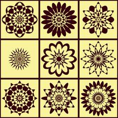 Background motley geometric pattern of flowers, Brown on beige