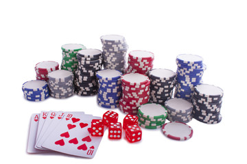 Poker chips with cards and dices