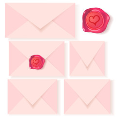 Vector set of pink letters with romantic wax seal