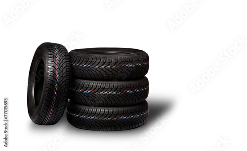 Car tires. Winter wheel profile structure on white background - 77015693