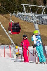 Children below ski lift