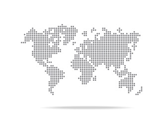Dot  world map isolated on the white background